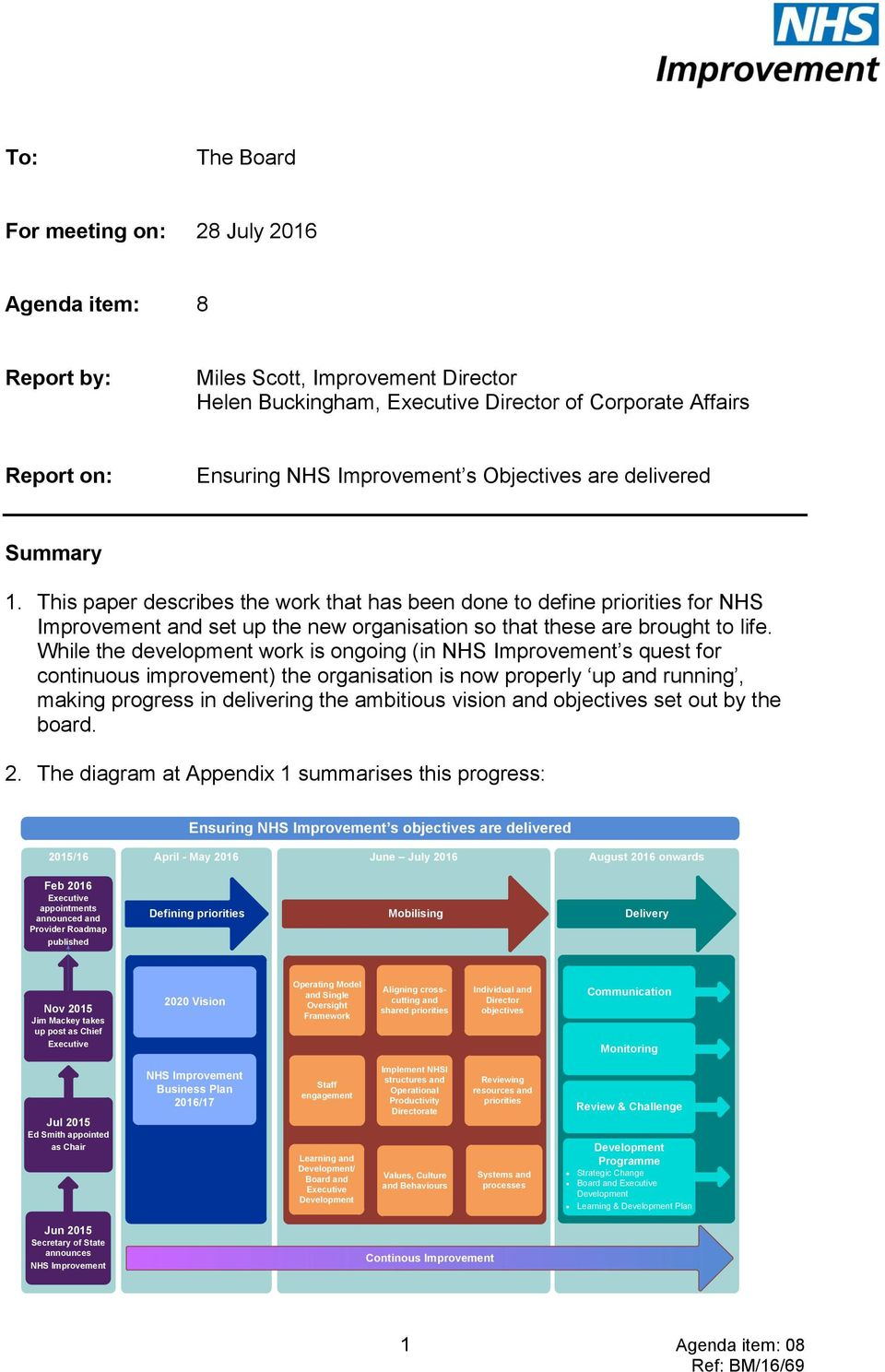 While the development work is ongoing (in NHS Improvement s quest for continuous improvement) the organisation is now properly up and running, making progress in delivering the ambitious vision and
