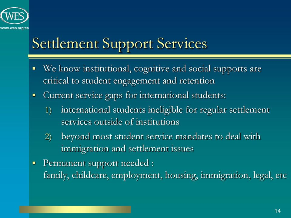 for regular settlement services outside of institutions 2) beyond most student service mandates to deal with