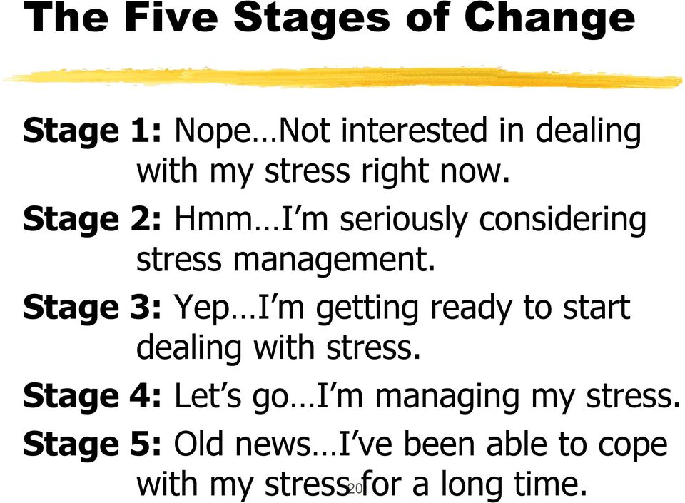 Stage 3: Yep I m getting ready to start dealing with stress.
