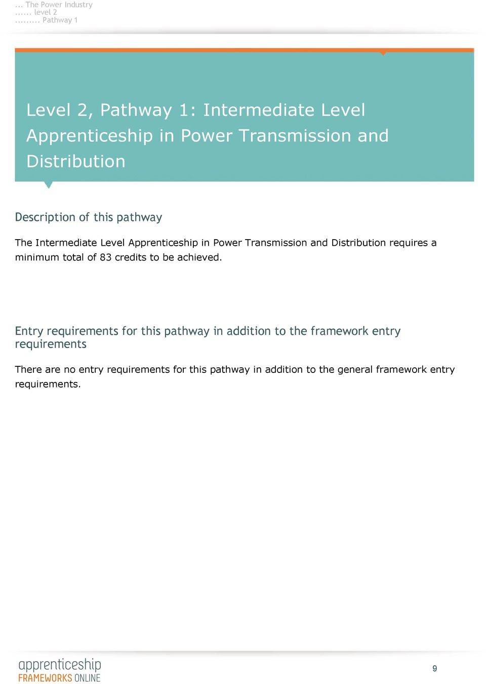 Description of this pathway The Intermediate Level Apprenticeship in Power Transmission and Distribution requires a