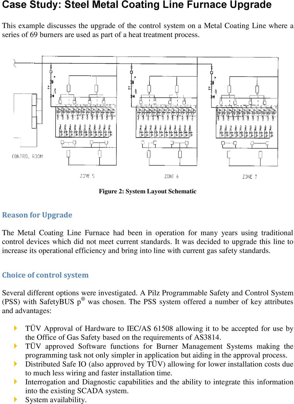 Figure 2: System Layout Schematic Reason for Upgrade The Metal Coating Line Furnace had been in operation for many years using traditional control devices which did not meet current standards.