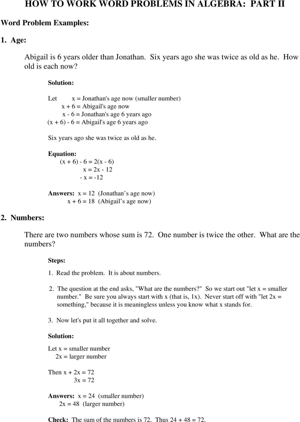 worksheet Age Word Problems Worksheet age word problems worksheet more addition and algebra pdf college word
