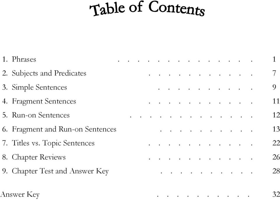 Fragment and Run-on Sentences.......... 13 7. Titles vs. Topic Sentences........... 22 8.