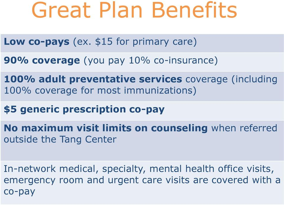 (including 100% coverage for most immunizations) $5 generic prescription co-pay No maximum visit limits