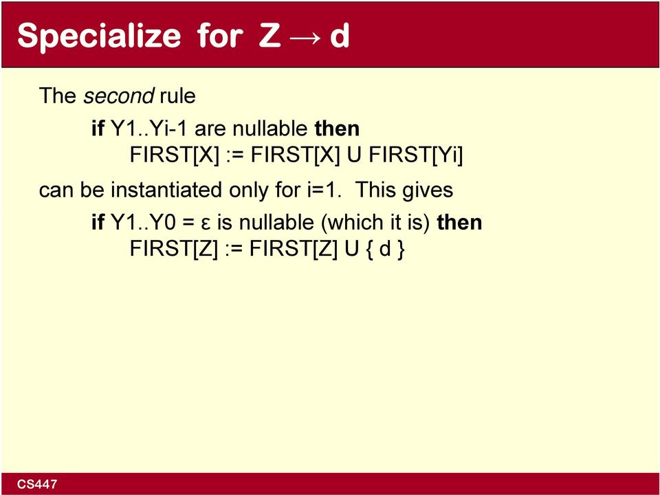 FIRST[Yi] can be instantiated only for i=1.