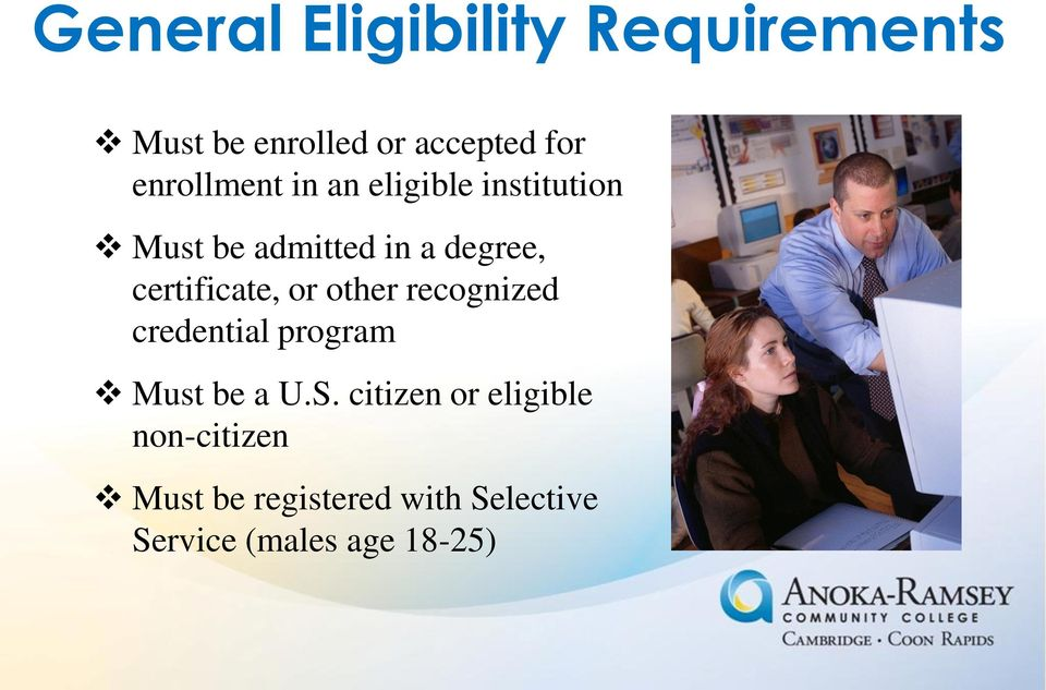 certificate, or other recognized credential program Must be a U.S.