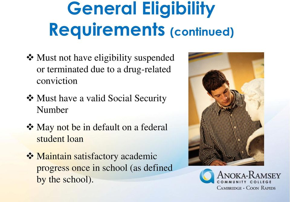 Social Security Number May not be in default on a federal student loan