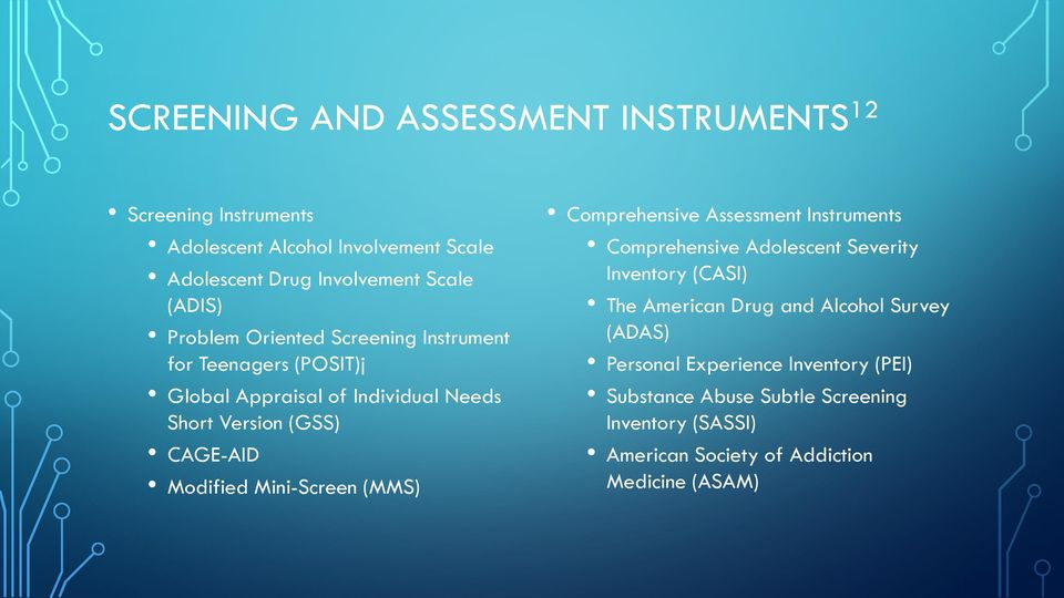 Mini-Screen (MMS) Comprehensive Assessment Instruments Comprehensive Adolescent Severity Inventory (CASI) The American Drug and Alcohol