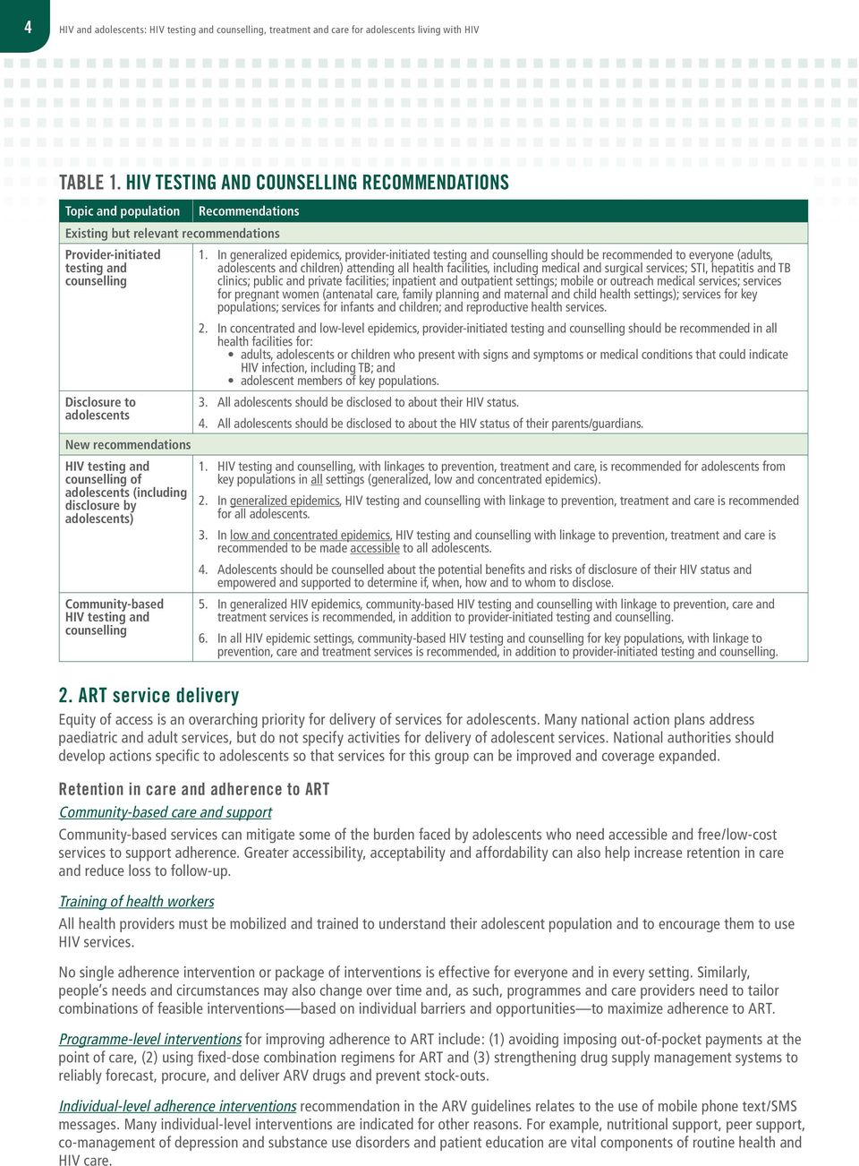 recommendations HIV testing and counselling of adolescents (including disclosure by adolescents) Community-based HIV testing and counselling 1.