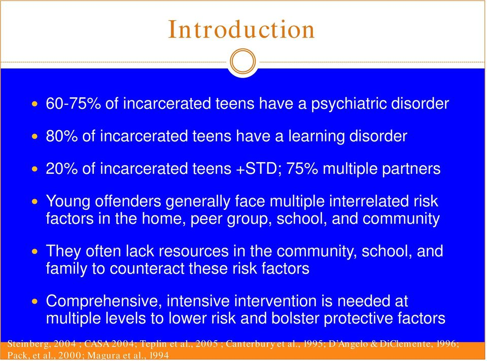 the community, school, and family to counteract these risk factors Comprehensive, intensive intervention is needed at multiple levels to lower risk and bolster
