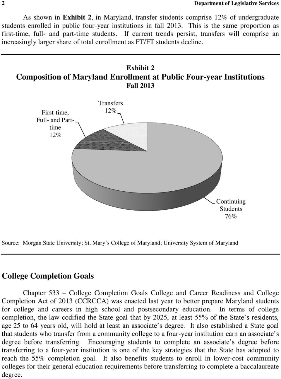 Exhibit 2 Composition of Maryland Enrollment at Public Four-year Institutions Fall 2013 First-time, Full- and Parttime 12% Transfers 12% Continuing Students 76% Source: Morgan State University; St.