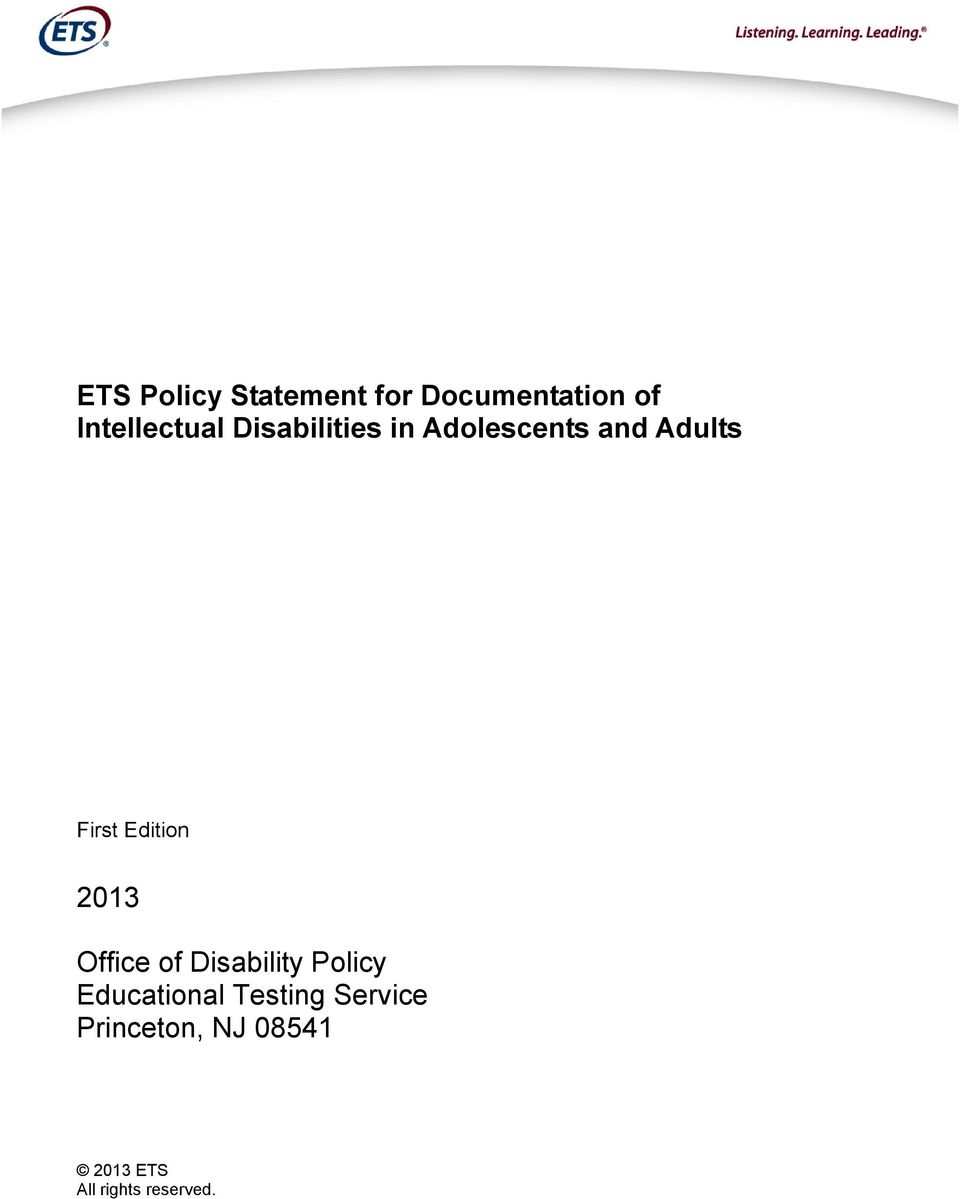 2013 Office of Disability Policy Educational Testing