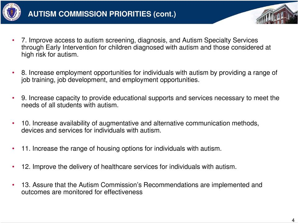 Increase employment opportunities for individuals with autism by providing a range of job training, job development, and employment opportunities. 9.