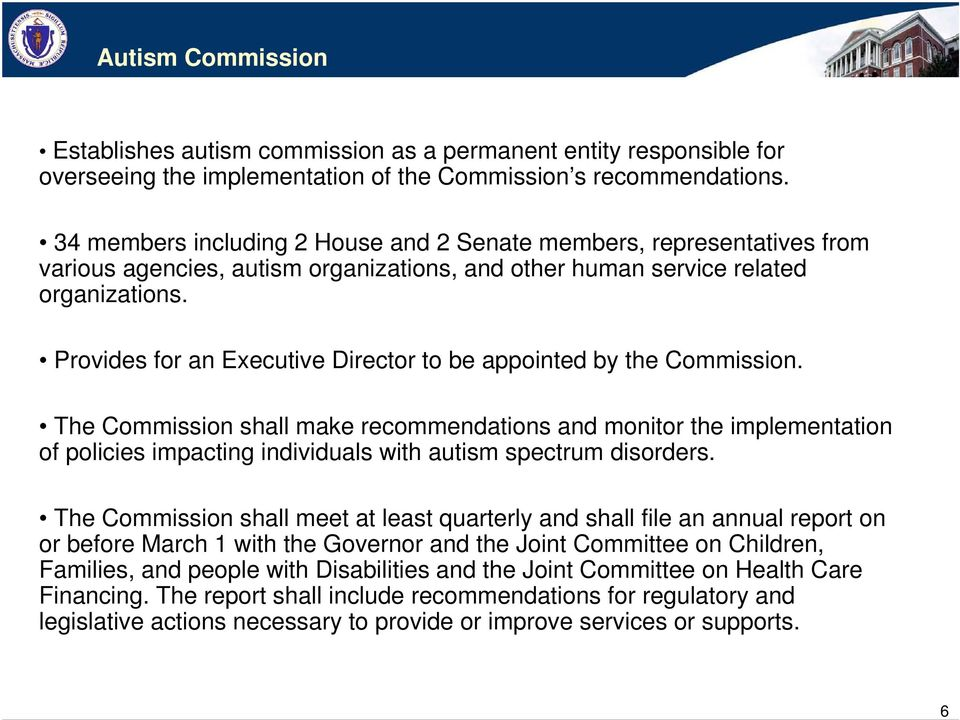 Provides for an Executive Director to be appointed by the Commission.