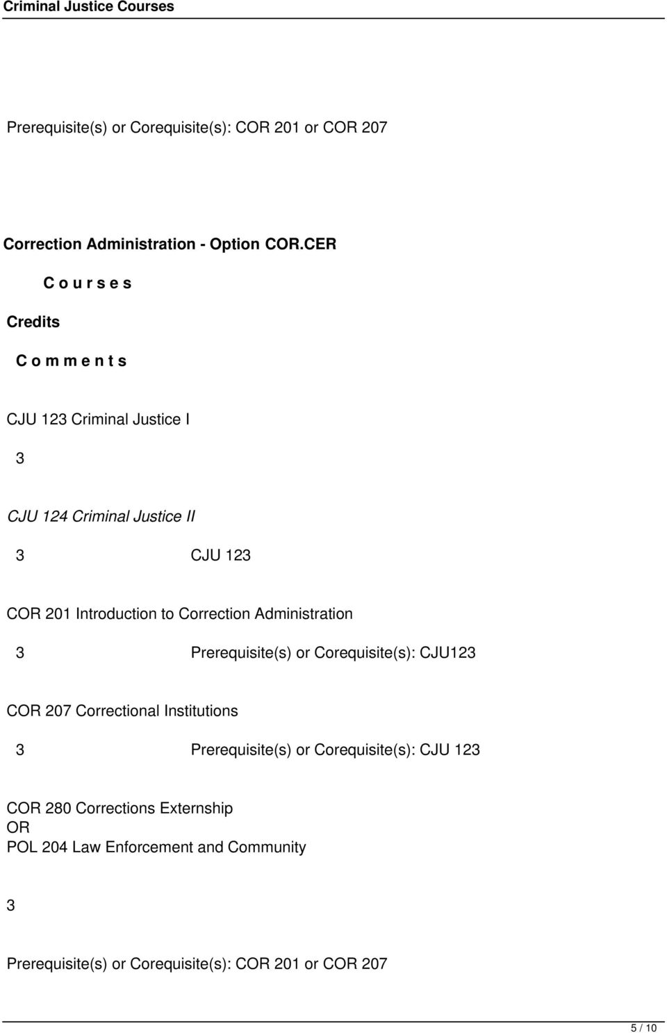 Administration Prerequisite(s) or Corequisite(s): CJU12 C 207 Correctional Institutions Prerequisite(s) or