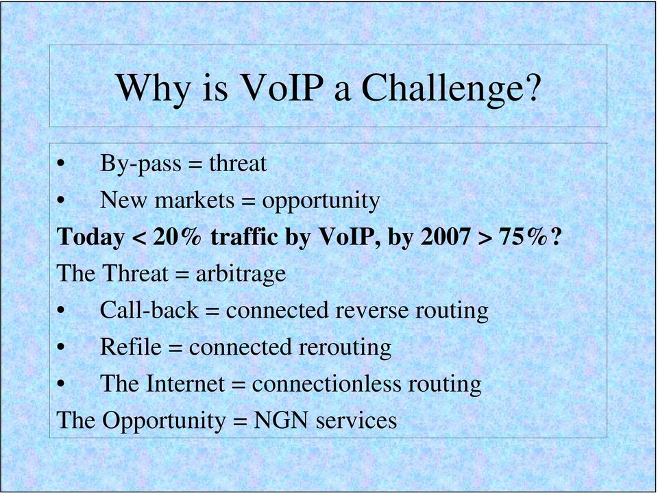 VoIP, by 2007 > 75%?