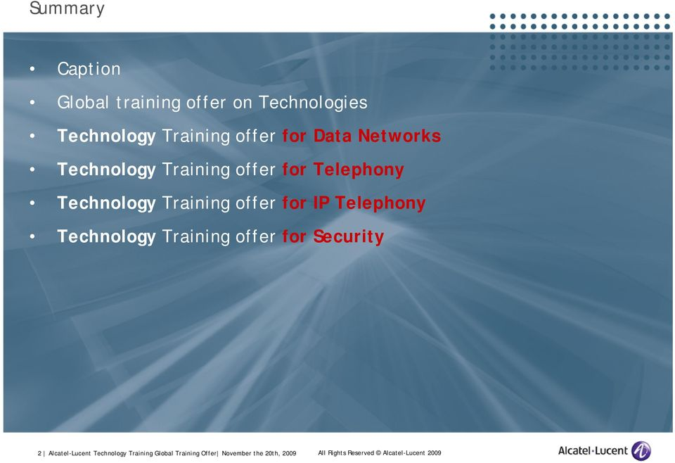 IP Telephony Technology Training offer for Security 2 Alcatel-Lucent Technology