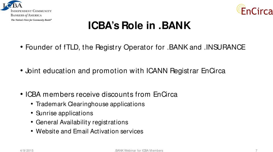 receive discounts from EnCirca Trademark Clearinghouse applications Sunrise applications
