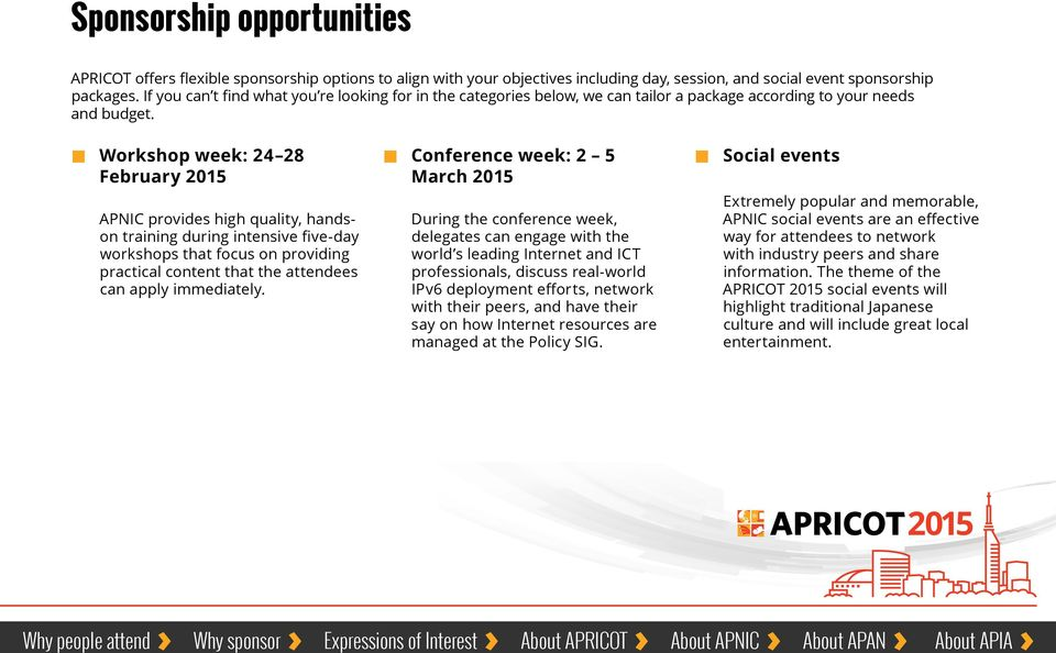 Workshop week: 24 28 February Conference week: 2 5 March Social events APNIC provides high quality, handson training during intensive five-day workshops that focus on providing practical content that