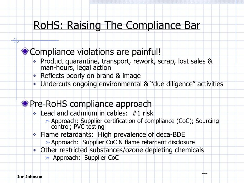 environmental & due diligence activities Pre-RoHS compliance approach Lead and cadmium in cables: #1 risk Approach: Supplier certification of