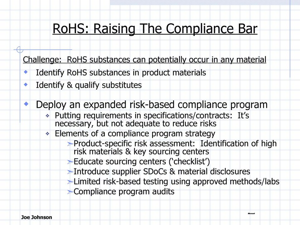 reduce risks Elements of a compliance program strategy Product-specific risk assessment: Identification of high risk materials & key sourcing centers