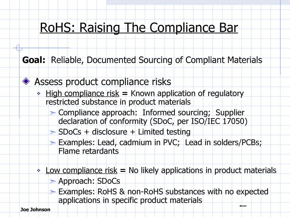 (SDoC, per ISO/IEC 17050) SDoCs + disclosure + Limited testing Examples: Lead, cadmium in PVC; Lead in solders/pcbs; Flame retardants Low compliance