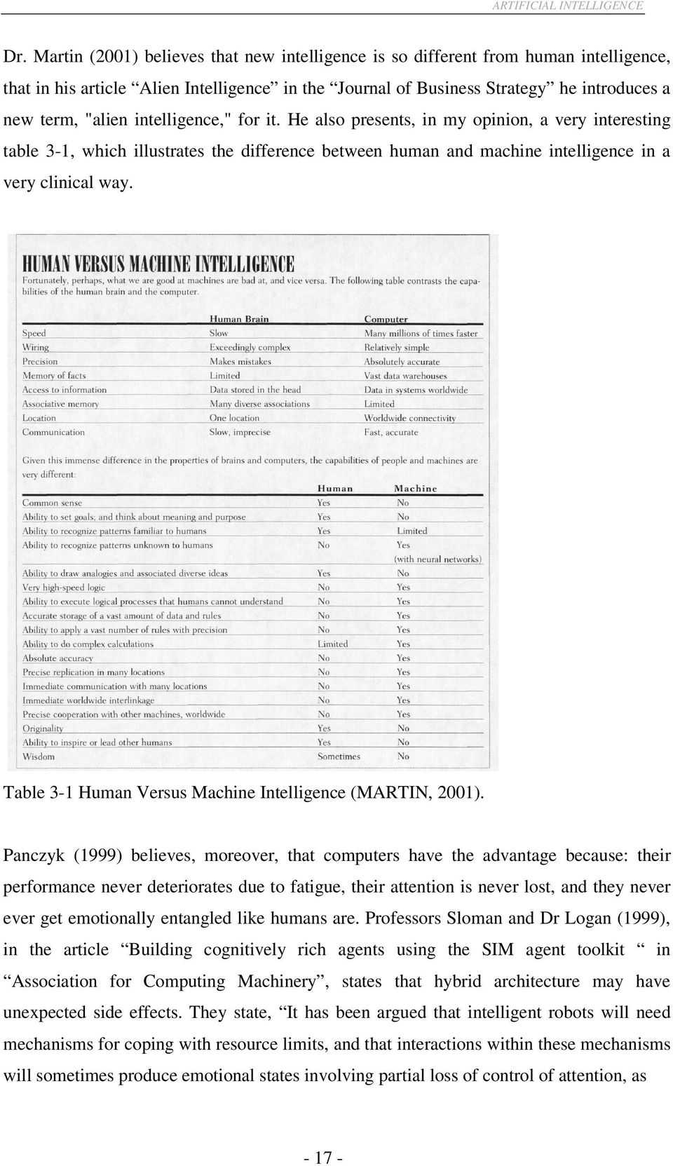 "intelligence,"" for it. He also presents, in my opinion, a very interesting table 3-1, which illustrates the difference between human and machine intelligence in a very clinical way."