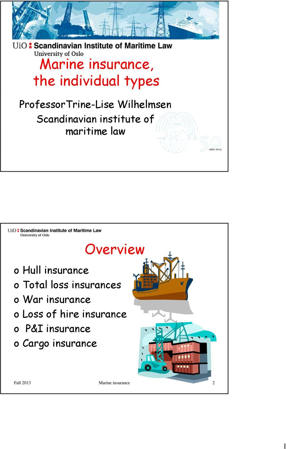 insurance o Total loss insurances owar insurance o Loss of hire