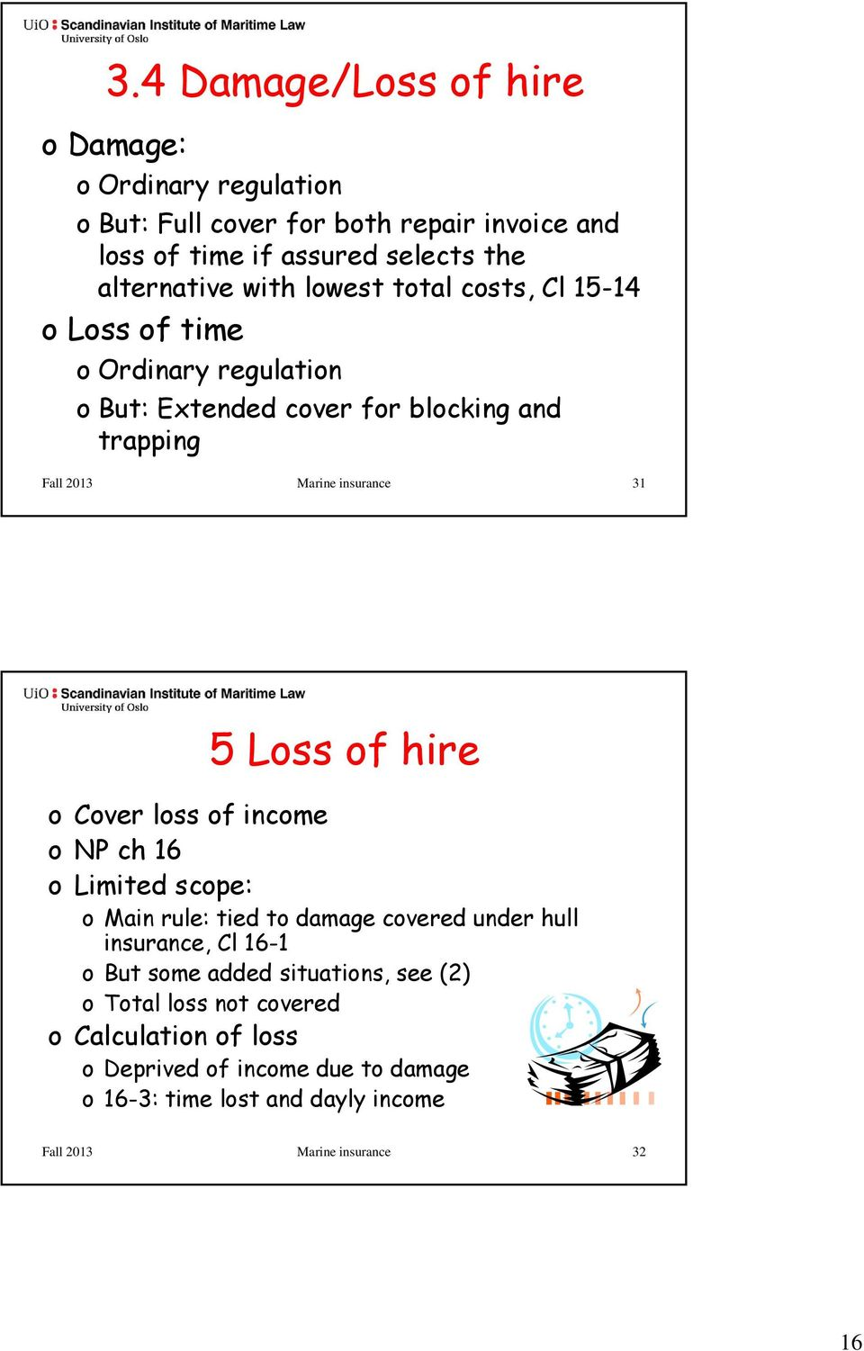 Loss of hire o Cover loss of income onp ch 16 o Limited scope: o Main rule: tied to damage covered under hull insurance, Cl 16-1 o But some added