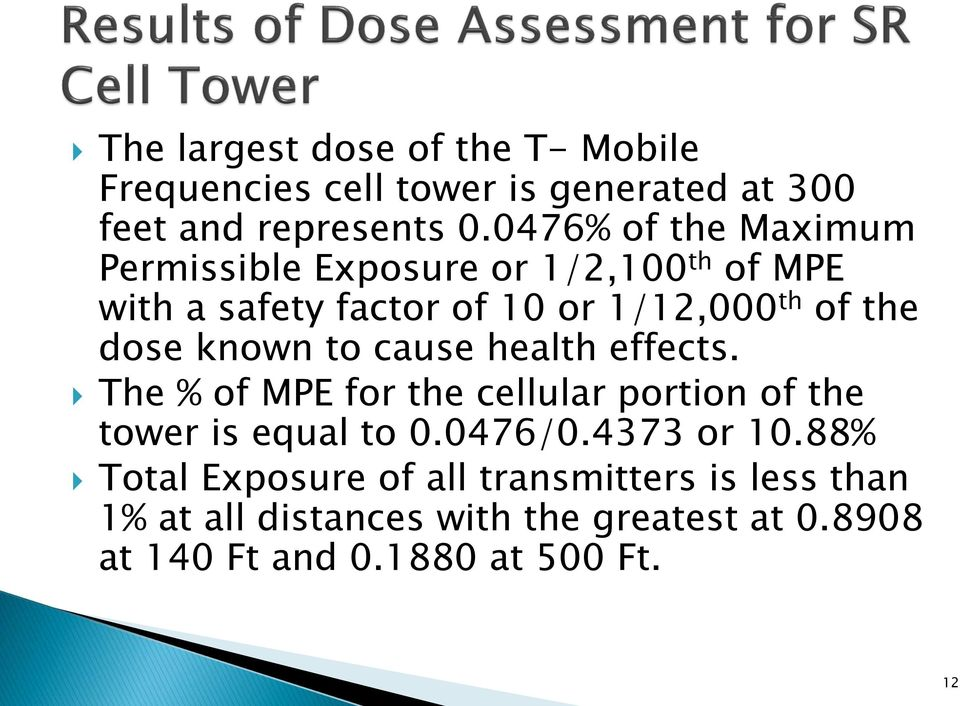 dose known to cause health effects. The % of MPE for the cellular portion of the tower is equal to 0.0476/0.