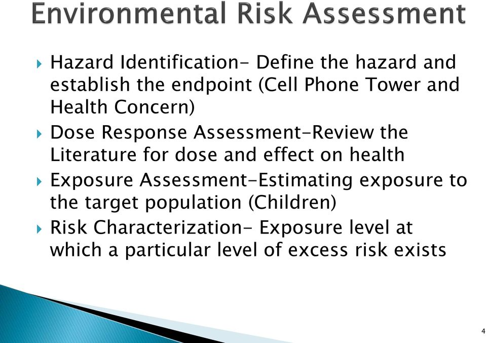 on health Exposure Assessment-Estimating exposure to the target population (Children)