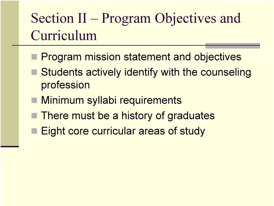counseling profession Minimum syllabi requirements There must