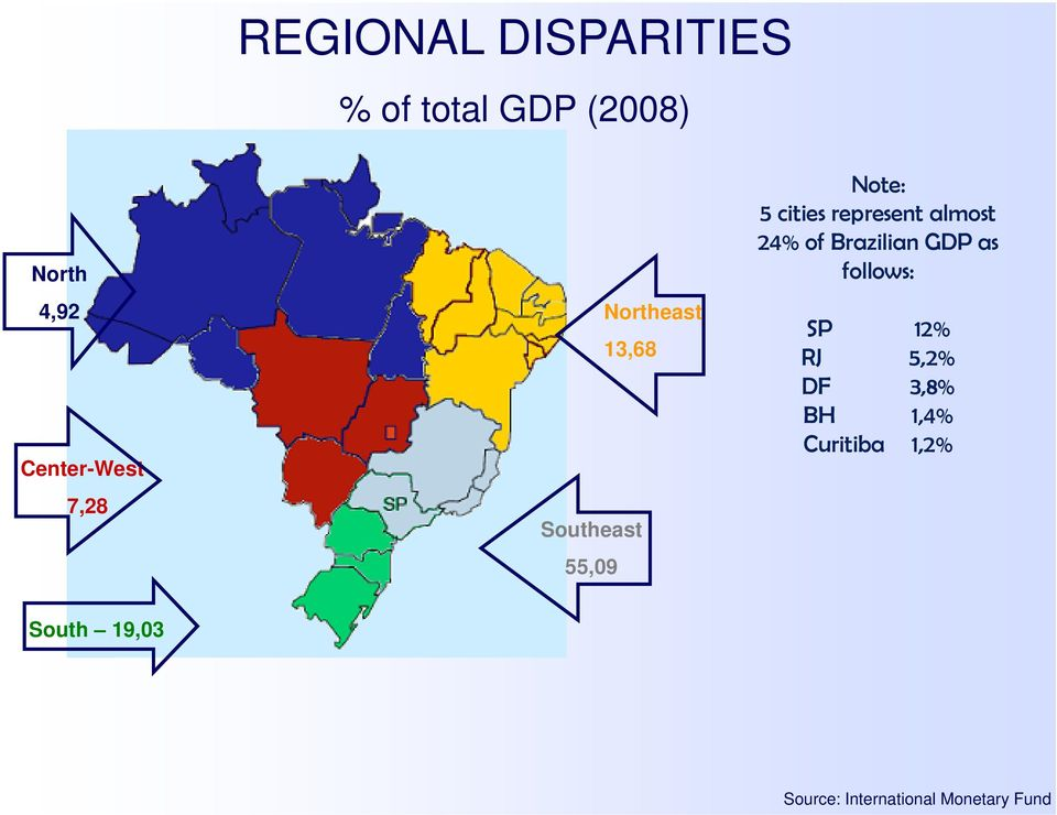 represent almost 24% of Brazilian GDP as follows: SP 12% RJ 5,2%