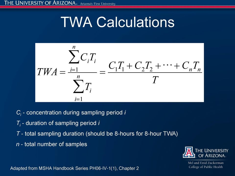 i T - total sampling duration (should be 8-hours for 8-hour TWA) n - total