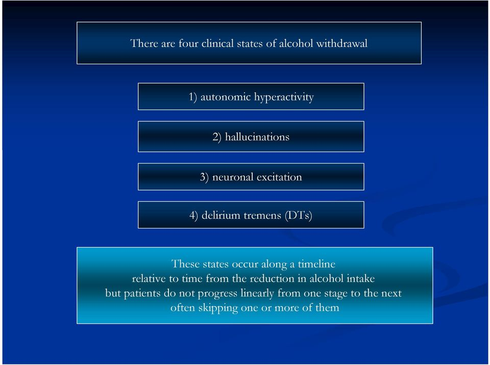 along a timeline relative to time from the reduction in alcohol intake but patients