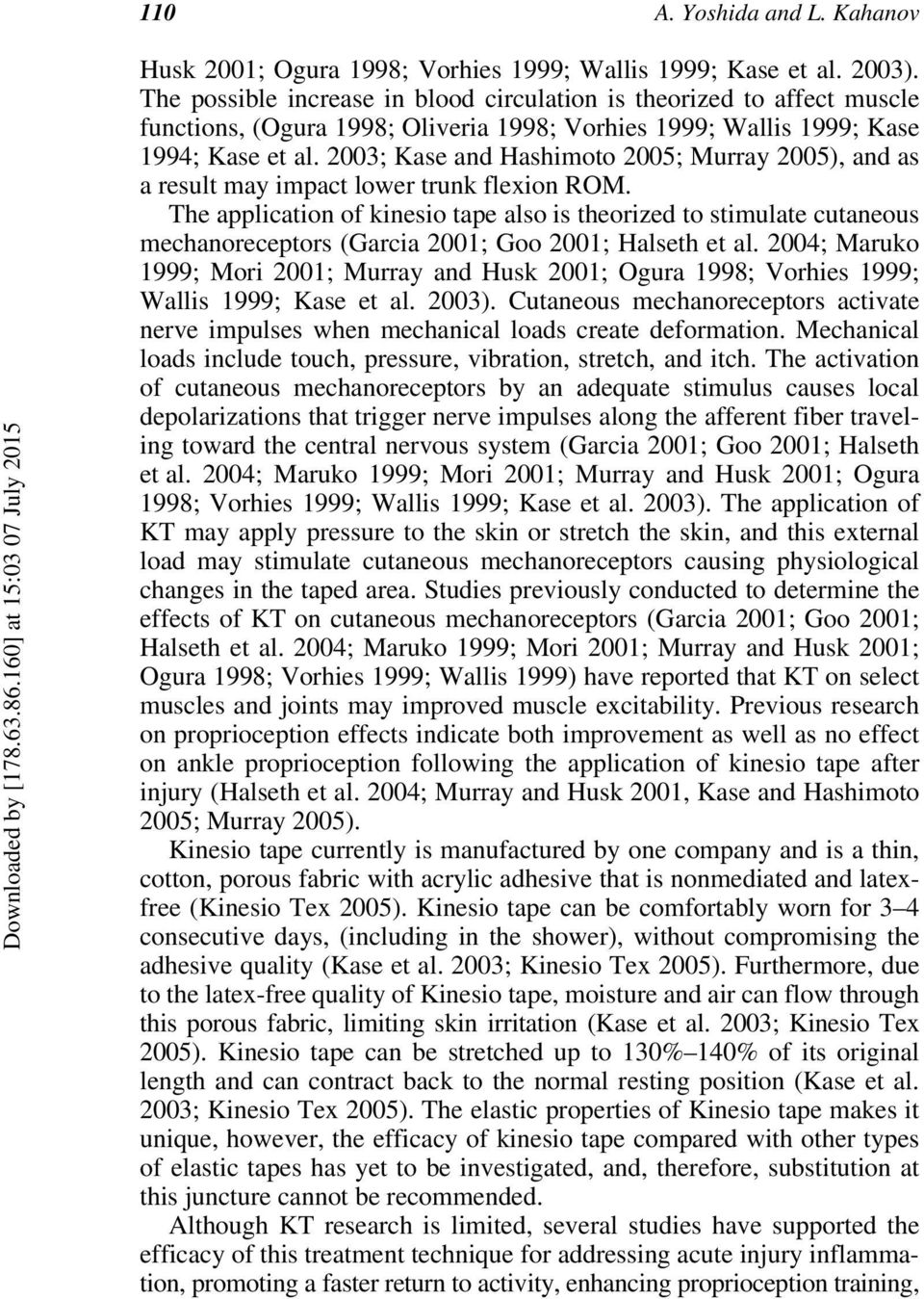 2003; Kase and Hashimoto 2005; Murray 2005), and as a result may impact lower trunk flexion ROM.