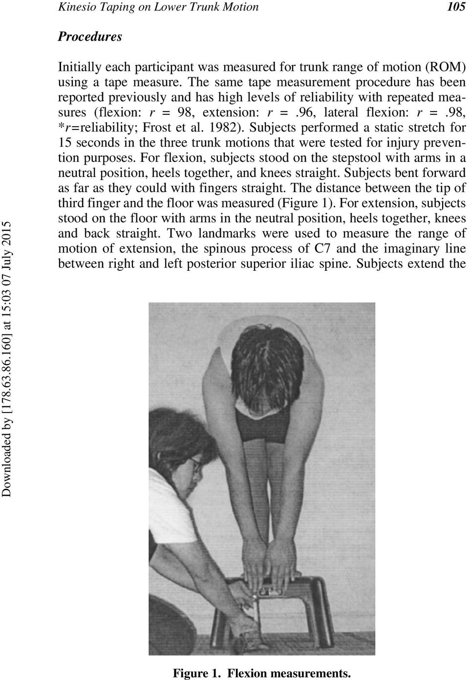 98, *r=reliability; Frost et al. 1982). Subjects performed a static stretch for 15 seconds in the three trunk motions that were tested for injury prevention purposes.