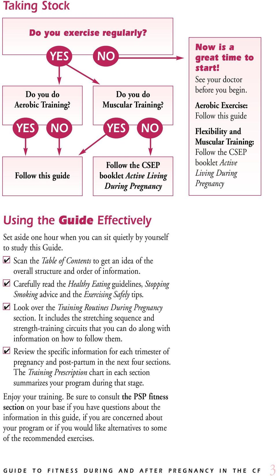 Aerobic Exercise: Follow this guide Flexibility and Muscular Training: Follow the CSEP booklet Active Living During Pregnancy Using the Guide Effectively Set aside one hour when you can sit quietly
