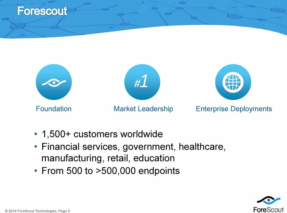 manufacturing, retail, education From 500 to >500,000 endpoints
