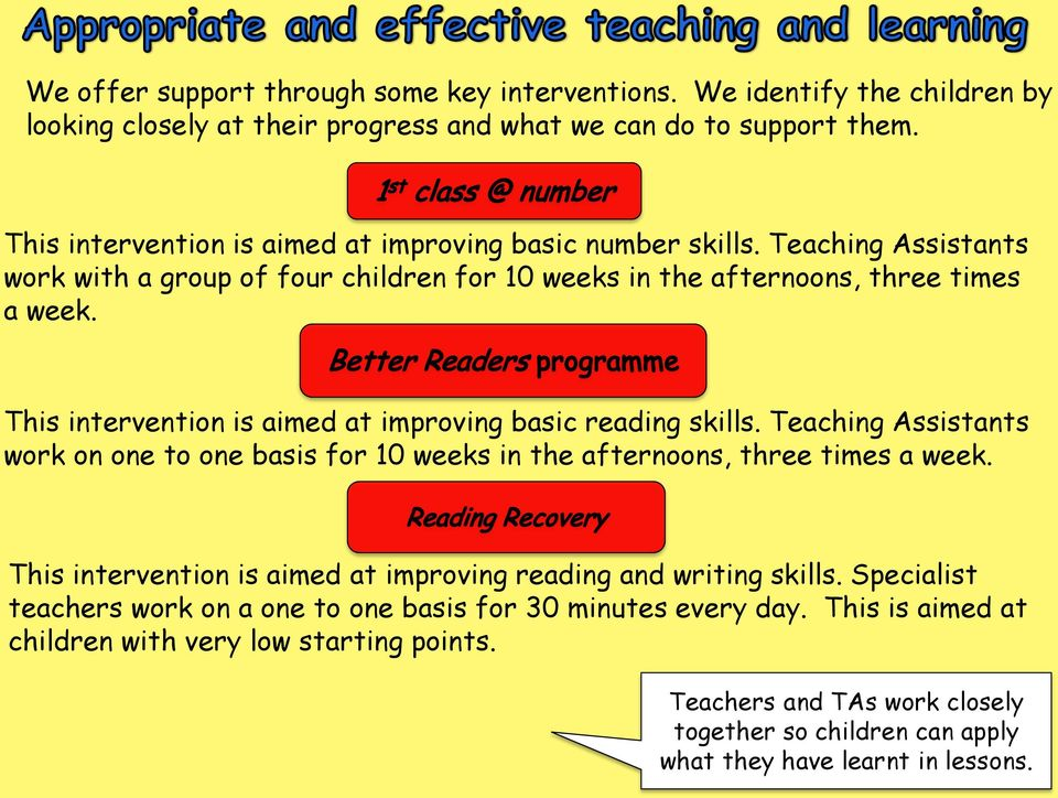 This intervention is aimed at improving basic reading skills. Teaching Assistants work on one to one basis for 10 weeks in the afternoons, three times a week.