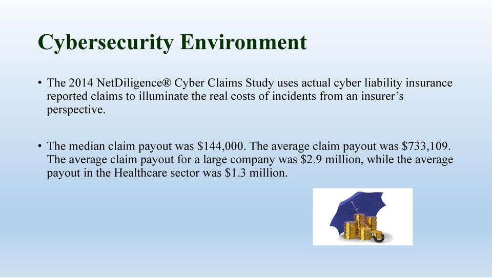 The median claim payout was $144,000. The average claim payout was $733,109.