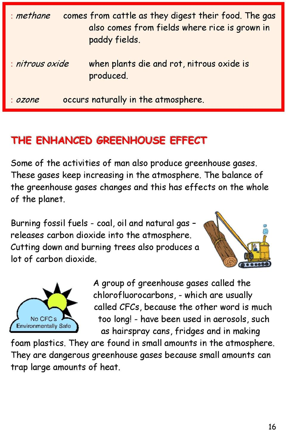 The balance of the greenhouse gases changes and this has effects on the whole of the planet. Burning fossil fuels - coal, oil and natural gas releases carbon dioxide into the atmosphere.
