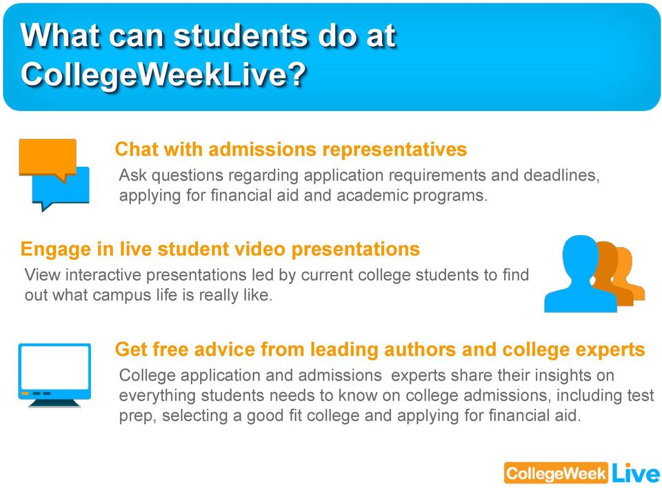 Engage in live student video presentations View interactive presentations led by current college students to find out what campus life is really like.