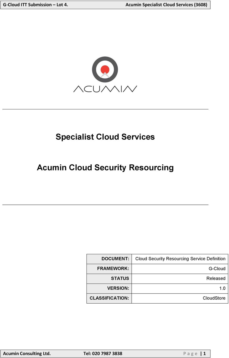 Service Definition G-Cloud Released VERSION: 1.