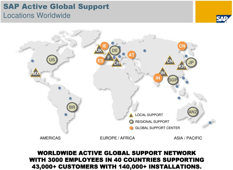 EUROPE / AFRICA ASIA / PACIFIC WORLDWIDE ACTIVE GLOBAL SUPPORT NETWORK WITH 3000