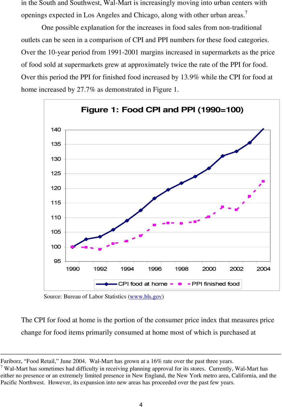 Over the 10-year period from 1991-2001 margins increased in supermarkets as the price of food sold at supermarkets grew at approximately twice the rate of the PPI for food.