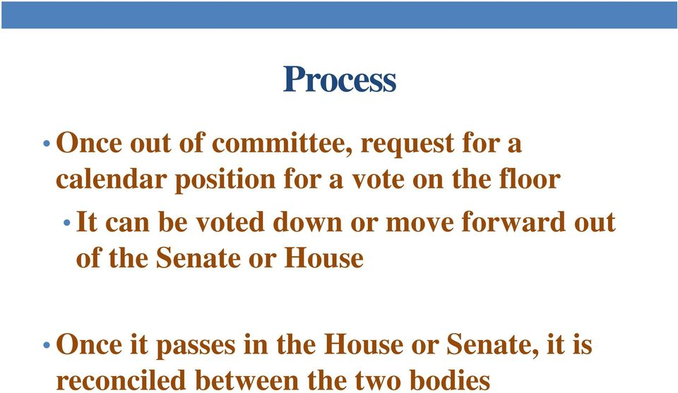 move forward out of the Senate or House Once it passes in