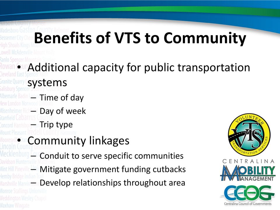 Community linkages Conduit to serve specific communities