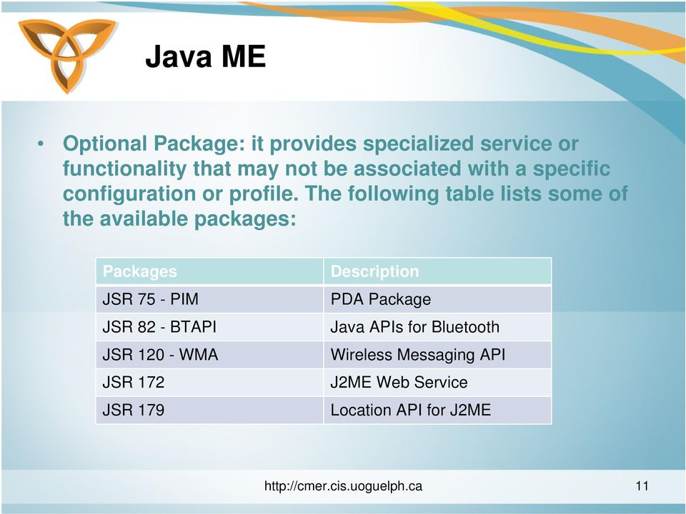 The following table lists some of the available packages: Packages JSR 75 - PIM JSR 82 - BTAPI JSR 120
