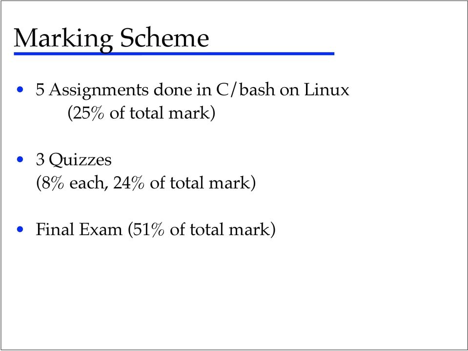 Linux!! (25% of total mark)!